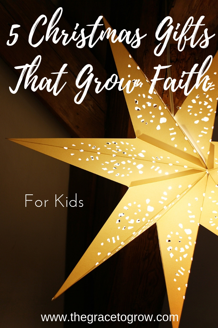 Are you looking for gifts with meaning this year? Here's a list of 5 Christmas gifts that grow faith for kids! #kidschristmas #meaningfulchristmas #faithgifts #faith #jesus #christmas