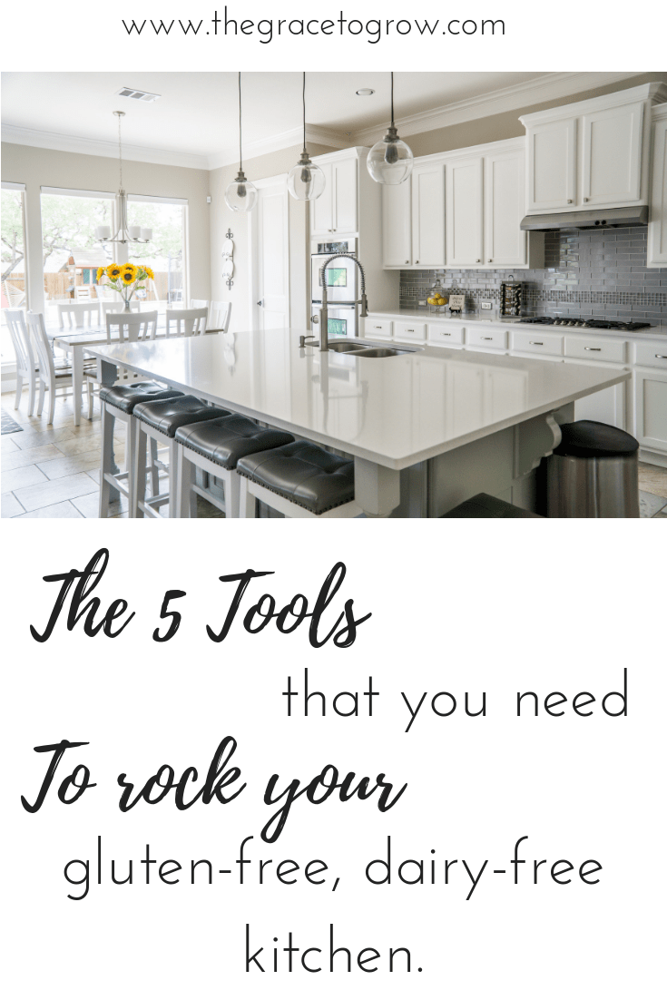 Here is a list of the 5 tools that you need for a successful gluten-free, dairy-free kitchen. #glutenfree #dairyfree #wholefoods #foodallergies #kitchen